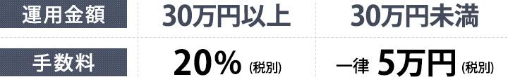 運用金額30万円以上 手数料20%税別 30万円未満 一律 5万円